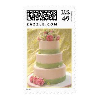 Pastel de bodas color de rosa y del Hydrangea Sello