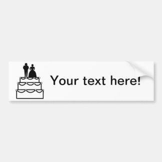 Pastel de bodas con el dibujo animado de novia y d pegatina de parachoque