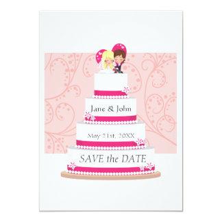 """Pastel de bodas de la fresa invitación 5"""" x 7"""""""