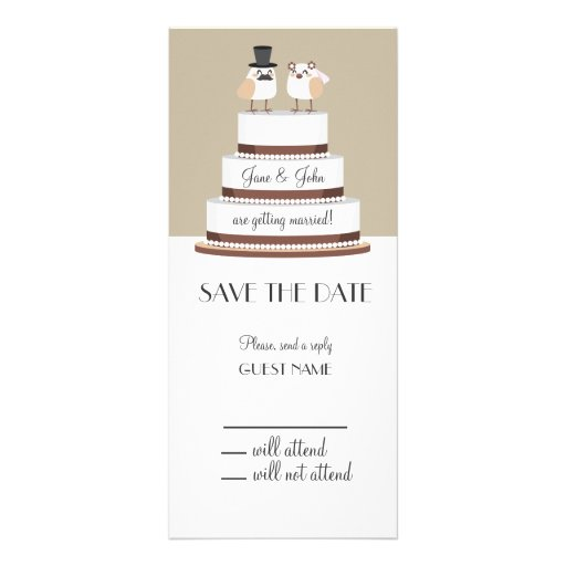 Pastel de bodas del amor de los pájaros tarjeta publicitaria