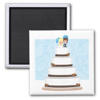 Pastel de bodas del chocolate imán cuadrado