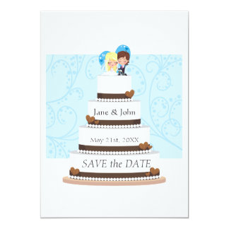 """Pastel de bodas del chocolate invitación 5"""" x 7"""""""