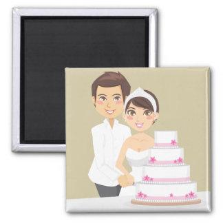 Pastel de bodas del corte imán cuadrado