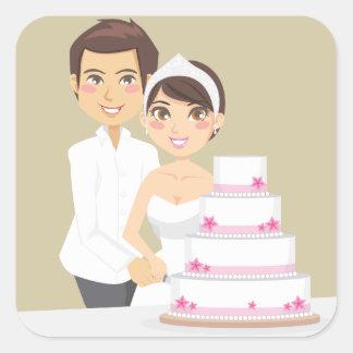 Pastel de bodas del corte pegatina cuadrada