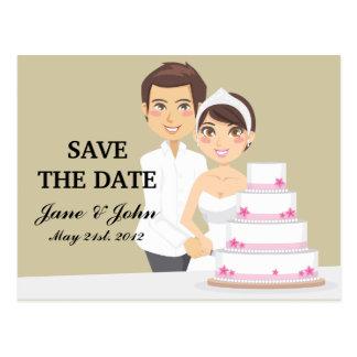 Pastel de bodas del corte postales