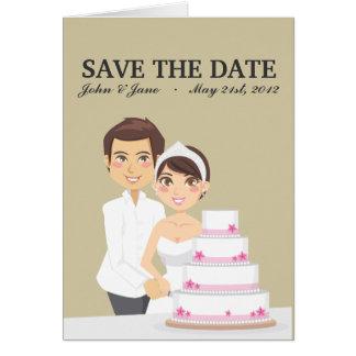Pastel de bodas del corte tarjeta pequeña
