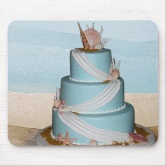 Pastel de bodas elegante de Shell del mar Tapete De Ratones