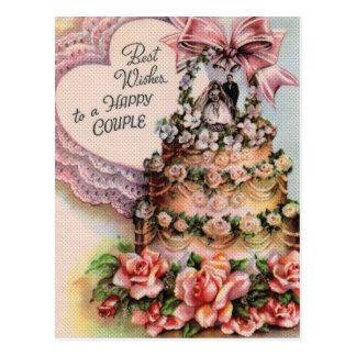 Pastel de bodas feliz de los pares postal