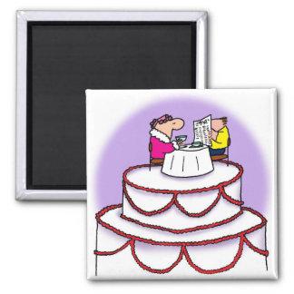 Pastel de bodas imán cuadrado