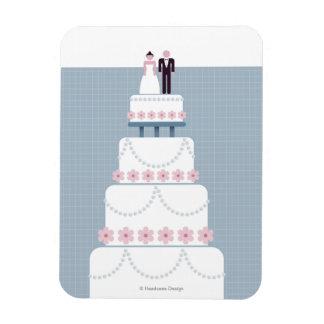 Pastel de bodas imán rectangular