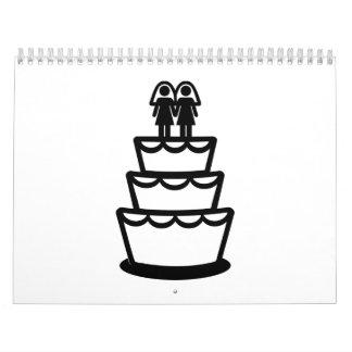 Pastel de bodas lesbiano calendarios de pared