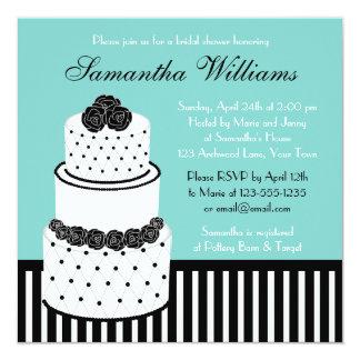 """Pastel de bodas negro y blanco de la ducha nupcial invitación 5.25"""" x 5.25"""""""