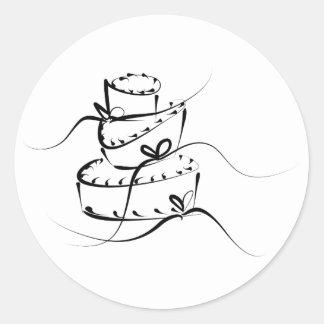 Pastel de bodas revuelto pegatina redonda