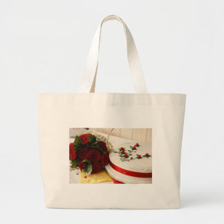 Pastel de bodas rojo y blanco bolsa tela grande