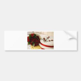 Pastel de bodas rojo y blanco pegatina de parachoque