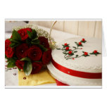 Pastel de bodas rojo y blanco felicitacion