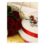 Pastel de bodas rojo y blanco postales
