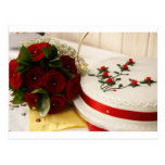 Pastel de bodas rojo y blanco tarjetas postales