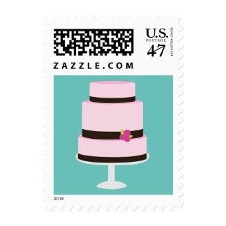 Pastel de bodas sello postal