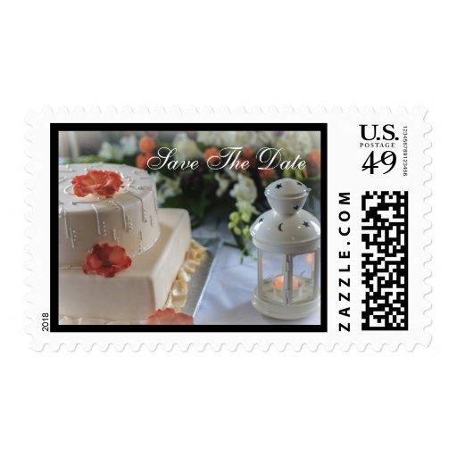 Pastel de bodas y linterna sellos