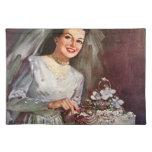 Pastel de bodas y novia - ejemplo del vintage mantel individual