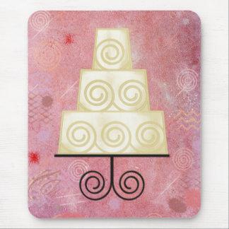 Pastel de bodas y rosa tapetes de ratones