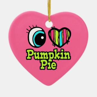 Pastel de calabaza brillante del amor del corazón adorno navideño de cerámica en forma de corazón