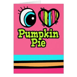 Pastel de calabaza brillante del amor del corazón tarjeta de felicitación