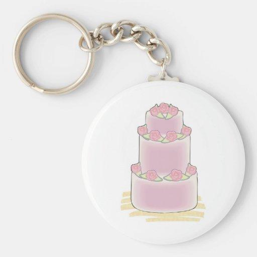 pastel de capas del rosa tres llavero redondo tipo pin
