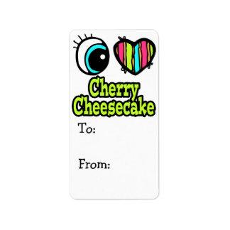 Pastel de queso brillante de la cereza del amor de etiqueta de dirección