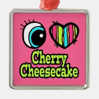 Pastel de queso brillante de la cereza del amor adorno de navidad