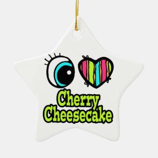 Pastel de queso brillante de la cereza del amor ornamentos de reyes