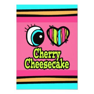 """Pastel de queso brillante de la cereza del amor invitación 4.5"""" x 6.25"""""""