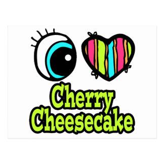 Pastel de queso brillante de la cereza del amor tarjeta postal