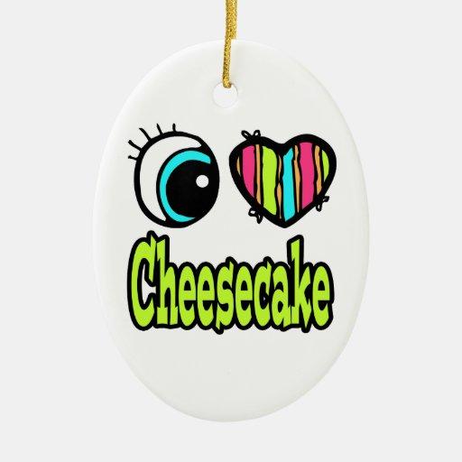 Pastel de queso brillante del amor del corazón I d Adorno De Navidad