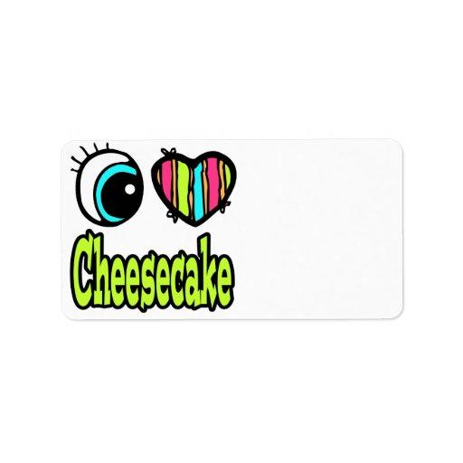 Pastel de queso brillante del amor del corazón I d Etiquetas De Dirección
