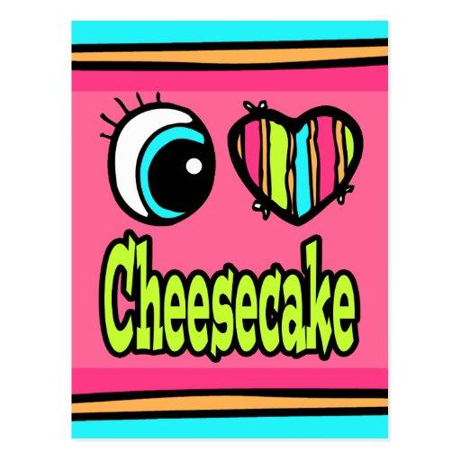 Pastel de queso brillante del amor del corazón I Postal