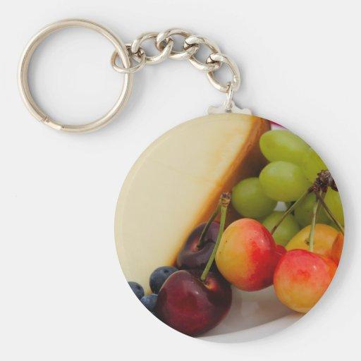 Pastel de queso con la fruta llaveros personalizados