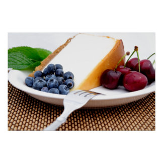 Pastel de queso con la fruta impresiones
