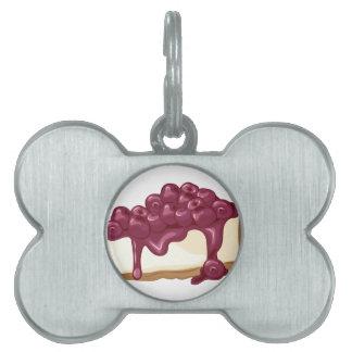 Pastel de queso de la cereza placa de mascota