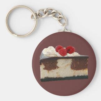 Pastel de queso de la frambuesa del chocolate llavero redondo tipo pin
