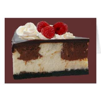 Pastel de queso de la frambuesa del chocolate tarjeta de felicitación