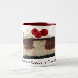 Pastel de queso de la frambuesa del chocolate taza de dos tonos