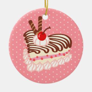 Pastel de queso de la fresa del chocolate adorno redondo de cerámica