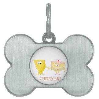 Pastel de queso placas de nombre de mascota