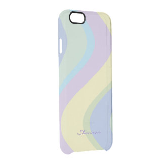 Pastel Designer Colors Wavy Striped iPhone 6 case Uncommon Clearly™ Deflector iPhone 6 Case