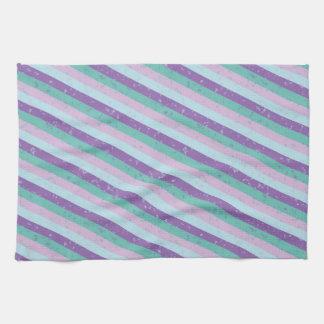 Pastel Diagonal Stripe Pattern Kitchen Towel