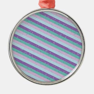 Pastel Diagonal Stripe Pattern Metal Ornament