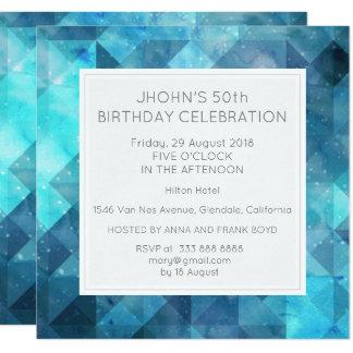 Pastel Diamond Geometric Birthday Party Blue Invitation