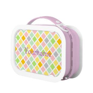 Pastel Diamonds custom lunch boxes
